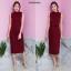 เดรสเกาหลี พร้อมส่ง Maxi dress เดรสแขนกุด คอตั้ง thumbnail 16