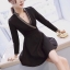 เดรสเกาหลี พร้อมส่ง Mini dress คอวีแต่งขอบทอง thumbnail 3