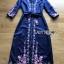 ชุดเดรสเกาหลี พร้อมส่ง เดรสยาว ผ้าเครปสีกรมท่า ปักลายดอกไม้ thumbnail 15