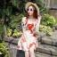 ชุดเดรสเกาหลี พร้อมส่ง เดรสสั้น ทอลายนูน ลายดอกสีแดง thumbnail 4