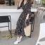 ชุดเดรสเกาหลี พร้อมส่ง Maxi Dress ทรงบาน คอวีป้ายอก thumbnail 5