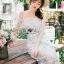 พร้อมส่ง เดรสผ้าลูกไม้สีขาวปักลายดอกไม้ thumbnail 5