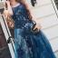 พร้อมส่ง Long dress แขนกุดผ้ามุ้งสีกรม สองชั้น thumbnail 7