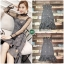 เดรสเกาหลี พร้อมส่ง Maxi Dress เดรสเกาหลี ลายตารางเล็ก thumbnail 4