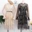ชุดเดรสเกาหลี พร้อมส่ง Dress ผ้ามุ้งซีทรู thumbnail 9