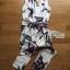 พร้อมส่ง Jumpsuit จัมป์สูทขายาวสีขาวพิมพ์ลายดอกไม้ป่า thumbnail 4