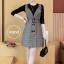 เสื้อผ้าเกาหลี พร้อมส่ง เสื้อผ้ายืด+เอี้ยมกระโปรงทรงสูท thumbnail 9