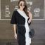เดรสเกาหลี พร้อมส่ง Long Dress เดรสทูโทน ตัวยา thumbnail 15