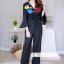 เสื้อผ้าเกาหลี พร้อมส่ง ชุดจั้มขายาว ลายดอกสีคมชัด thumbnail 2