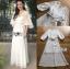 ชุดเดรสเกาหลี พร้อมส่ง เดรสผ้าชีฟองปักลายสีขาว thumbnail 7
