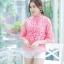 เสื้อเกาหลี ผ้าลูกไม้ ลายดอกกุหลาบ พร้อมส่ง thumbnail 7