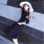 Dressแขนยาวสี่ส่วน ผ้าเรียบสีดำ พร้อมส่ง thumbnail 2