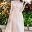 พร้อมส่ง Long dress สีชมพูโอรส แขน 5 ส่วน thumbnail 7