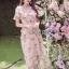 พร้อมส่ง เดรสผ้าทูลเลปักดอกไม้กุหลาบสีชมพู thumbnail 4
