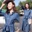 ชุดเดรสเกาหลี พร้อมส่ง เดรสผ้ายีนส์ฟอกนิ่ม ลายริ้วในตัว thumbnail 3