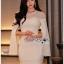 เดรสเกาหลี พร้อมส่ง เดรสผ้าเครปสีขาวทรงบอดี้คอน thumbnail 3
