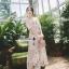 เดรสเกาหลี พร้อมส่ง เดรสผ้าลูกไม้ซีทรู ปักดอกไม้ thumbnail 4