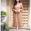 ชุดเดรสเกาหลี พร้อมส่ง Dress ลูกไม้ ลายทางฉลุ thumbnail 4
