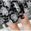 พร้อมส่ง เดรสผ้าลูกไม้ลายดอกไม้โทนสีขาวดำ thumbnail 16