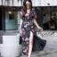 ชุดเดรสเกาหลี พร้อมส่ง Maxi Dress ผ้าชีฟอง ลายดอก thumbnail 4