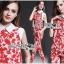 พร้อมส่ง เสื้อและกางเกงลายดอกไม้สีแดง thumbnail 3