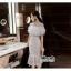 เดรสเกาหลี พร้อมส่ง เดรสสีขาวยาวอกระบาย thumbnail 2