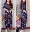 ชุดเดรสเกาหลี พร้อมส่ง maxi dress คอวีเปิด thumbnail 1