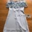 พร้อมส่ง มินิเดรสผ้าเครปสีฟ้าอ่อนตกแต่งลูกไม้ทรงเปิดไหล่ thumbnail 12