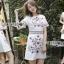 เดรสเกาหลี พร้อมส่ง เดรสผ้าเครปสีขาว กระโปรงเอไลน์ thumbnail 1