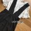 พร้อมส่ง เดรสเอี้ยมผ้าเครปสีดำทรง scallop thumbnail 5
