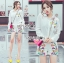 เสือผ้าเกาหลี พร้อมส่ง เสื้อเชิ้ตสีขาวและกางเกงปักลาย thumbnail 7
