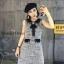 เดรสเกาหลี พร้อมส่ง เดรสผ้าทวิต คอบัวสีดำ thumbnail 1