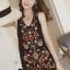 พร้อมส่ง mini dress สีดำแขนกุด ปักดอกไม้ thumbnail 4
