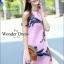 เดรสเกาหลี พร้อมส่ง มินิเดรส ปักดอกไม้ สีชมพู thumbnail 3