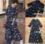 ชุดเดรสเกาหลี พร้อมส่ง เดรสยาว ผ้าชีฟองสีน้ำเงินพิมพ์ลายดอกไม้ thumbnail 9