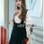 เดรสเกาหลี พร้อมส่ง เอี๊ยม เดรสผ้าเครปสีดำทับเสื้อคอตตอน thumbnail 6