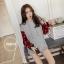 เสื้อเกาหลี พร้อมส่ง เสื้อตัวยาว ช่วงแขนลายสก๊อต thumbnail 9