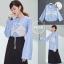 เสื้อเกาหลี พร้อมส่ง เสื้อเชิ้ต ลายริ้ว thumbnail 4