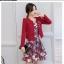 เสื้อผ้าเกาหลี พร้อมส่ง เสื้อสูทและเดรส สีแดงเข้ม thumbnail 1