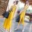 พร้อมส่ง ชุด Maxi Dress สีเหลืองแขนกุด thumbnail 3