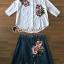 เสื้อผ้าเกาหลี พร้อมส่ง เสื้อปักดอกไม้กับกระโปรงยีนส์ thumbnail 3