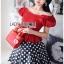เสื้อผ้าเกาหลี พร้อมส่ง เสื้อคร็อปสีแดงและกระโปรงลายจุด thumbnail 2