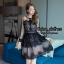 ชุดเดรสเกาหลี พร้อมส่ง Dress ผ้าลูกไม้ฉลุลาย แต่งสลับผ้าตาข่าย thumbnail 1