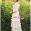 ชุดเดรสลูกไม้ พร้อมส่ง เดรสยาวผ้าลูกไม้ สีขาว ระบายเลเยอร์ thumbnail 10
