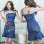 เดรสเกาหลี พร้อมส่ง เดรสยีนส์ ผ้าเดนิมสีเข้ม thumbnail 1