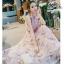 ชุดเดรสเกาหลี พร้อมส่ง เดรสผ้าชีฟอง ลายดอกสีชมพู ผูกไหล่ thumbnail 2