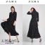 เดรสเกาหลี พร้อมส่ง เดรสผ้าพริ้วสีดำ ลายจุดขาว thumbnail 1