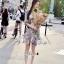 เดรสเกาหลี พร้อมส่ง เดรสปักลายนูนโทนชมพูอมม่วง thumbnail 4