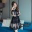ชุดเดรสเกาหลี พร้อมส่ง Dress ผ้าลูกไม้ฉลุลาย แต่งสลับผ้าตาข่าย thumbnail 6