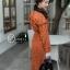 เดรสเกาหลี พร้อมส่ง เดรสเชิ้ต ลายดอก มี2สี ส้ม เขียว thumbnail 4